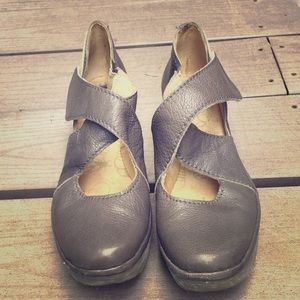 Fly London grey leather wedges